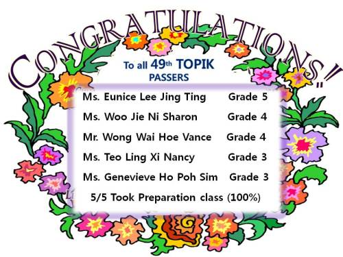 Hi Daehan Korean Students ~ So happy to hear that our TOPIK Preparation II students all obtained satisfactory TOPIK results ~ Grade 3, 4 and 5. Again feeling proud and thanks to your persperation and efforts~